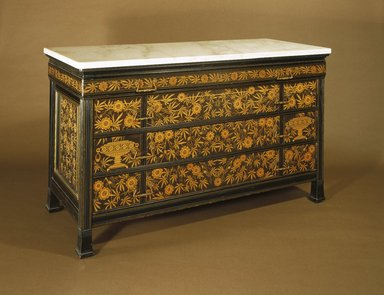 Herter Brothers (American, 1865-1905). <em>Chest-of-Drawers</em>, ca. 1880. Ebonized cherry, other woods, modern marble top, brass, 30 1/16 x 52 1/16 x 22 in. (76.4 x 132.2 x 55.9 cm). Brooklyn Museum, Modernism Benefit Fund, 1989.69. Creative Commons-BY (Photo: Brooklyn Museum, 1989.69_IMLS_SL2.jpg)