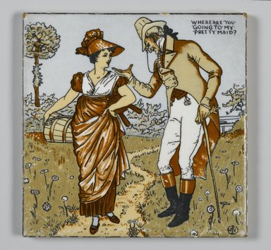 Walter T. Crane (British, 1845-1915). <em>Tile</em>, ca. 1890. Transfer-printed, polychromed, glazed earthenware, 6 x 6 x 5/16 in. (15.2 x 15.2 x 0.8 cm). Brooklyn Museum, Purchased with funds given by Barbara Jakobson, 1989.70 (Photo: Brooklyn Museum, 1989.70_PS2.jpg)