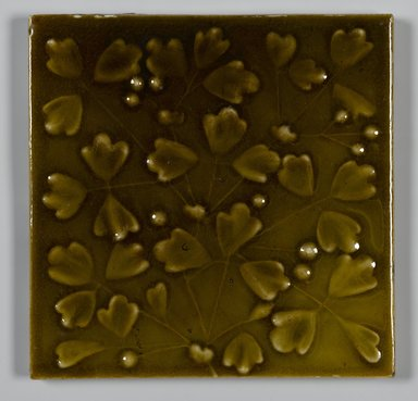J. & J. G. Low Art Tile Works (1877-1907). <em>Tile</em>, ca. 1881. Glazed earthenware, 6 1/8 x 6 1/8 x 1/2 in. (15.6 x 15.6 x 1.3 cm). Brooklyn Museum, Purchased with funds given by Joseph V. Garry, 1989.72 (Photo: Brooklyn Museum, 1989.72_PS2.jpg)