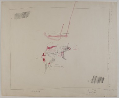 Pat Steir (American, born 1940). <em>Young Gila Monster</em>, 1973. Graphite and watercolor, 25 1/2 x 30 1/2 in. (64.8 x 77.4 cm). Brooklyn Museum, Gift of Michael R. Klein, 1989.83.3. © artist or artist's estate (Photo: Brooklyn Museum, 1989.83.3_PS11.jpg)