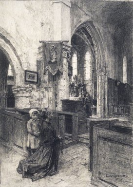 Léon-Augustin Lhermitte (French, 1844-1925). <em>The Church of Saint-Eugène (L'Église de Saint-Eugène)</em>, 1884. Charcoal on laid paper, 19 x 13 3/8 in. (48.3 x 34 cm). Brooklyn Museum, Purchased with funds given by Karen B. Cohen, 1989.87 (Photo: Brooklyn Museum, 1989.87_transp315.jpg)