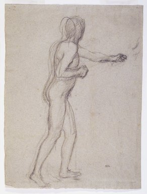 Pierre Puvis de Chavannes (French, 1824-1898). <em>Study of a Standing Male Nude</em>, ca. 1880. Black chalk on laid paper, 12 x 9 in. (30.5 x 22.9 cm). Brooklyn Museum, Purchased with funds given by Karen B. Cohen, 1989.90 (Photo: Brooklyn Museum, 1989.90_transpc001.jpg)