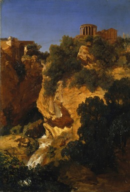 Pierre Thuillier (French, 1799-1858). <em>View at Tivoli</em>, 1840 or 1842. Oil on linen, 23 x 16 3/8 in. (58.4 x 41.6 cm). Brooklyn Museum, Gift of The Roebling Society, 1990.100 (Photo: Brooklyn Museum, 1990.100_SL1.jpg)