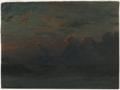 Albert Bierstadt (American, born Germany, 1830-1902). <em>Sunset - Last Reflections - Cloud Study</em>. Oil on paper backed by board, 11 1/2 x 15 3/8 in. (29.2 x 39.1 cm). Brooklyn Museum, Gift of Mary Bierstadt, by exchange, 1990.101.1 (Photo: Brooklyn Museum, 1990.101.1_PS2.jpg)