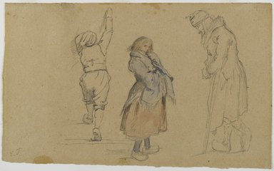 Eastman Johnson (American, 1824-1906). <em>Three Dutch Figures</em>, ca. 1852. Graphite, watercolor and white chalk on brown, medium weight, moderately textured wove paper, 6 1/2 x 10 7/8 in.  (16.5 x 27.6 cm). Brooklyn Museum, Purchased with funds given by Mr. and Mrs. Leonard L. Milberg, 1990.101.6a-b (Photo: Brooklyn Museum, 1990.101.6a-b_recto_PS4.jpg)