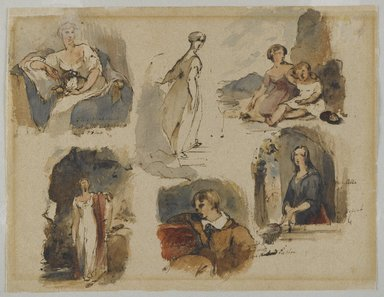 Thomas Sully (American, born England, 1783-1872). <em>[Untitled] (Six Figure Studies) (recto) and [Untitled] (Seven Figure Studies) (verso)</em>, ca. 1830s. Iron gall ink and watercolor on beige, medium-weight, moderately textured antique laid paper, recto: 8 13/16 x 11 1/2 in. (22.4 x 29.2 cm). Brooklyn Museum, Gift of the American Art Council, 1990.102.1a-b (Photo: Brooklyn Museum, 1990.102.1_recto_PS4.jpg)