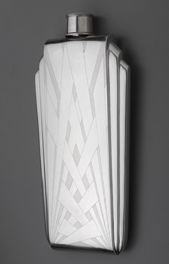 The Napier Company (1922-present). <em>Flask</em>, 1925-1930. Sterling silver and cork, 9 5/8 x 4 1/2 x 1 3/16in. (24.4 x 11.4 x 3cm). Brooklyn Museum, Modernism Benefit Fund, 1990.10a-b. Creative Commons-BY (Photo: Brooklyn Museum, 1990.10a-b_PS9.jpg)