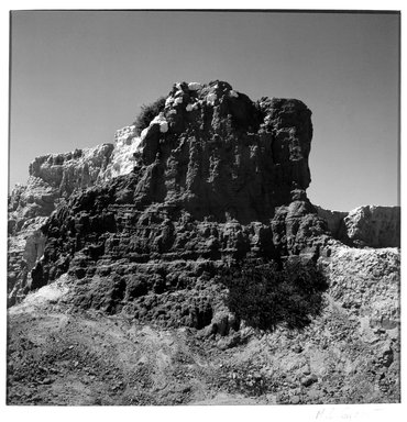 M. Lourdes Grobet (Mexican, born 1940). <em>Untitled (Rock Formation Painted Blue/Yellow)</em>, ca. 1986. Silver dye bleach photograph (Cibachrome), image: 7 1/2 x 7 1/2 in. (19.1 x 19.1 cm). Brooklyn Museum, Gift of Marcuse Pfeifer, 1990.119.17. © artist or artist's estate (Photo: Brooklyn Museum, 1990.119.17_bw.jpg)