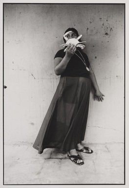 Graciela Iturbide (Mexican, born 1942). <em>Mujer Cangrejo (Crab Woman), Juchitán, Oaxaca</em>, 1985. Gelatin silver photograph, image: 12 x 8 in. (30.5 x 20.3 cm). Brooklyn Museum, Gift of Marcuse Pfeifer, 1990.119.32. © artist or artist's estate (Photo: , 1990.119.32_PS9.jpg)