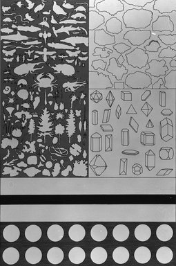 Matt Mullican (American, born 1951). <em>Evolutionary Chart</em>, 1988. Etching with 16 gauge copper plates, sheet: 22 x 15 1/8 in. (55.9 x 38.4 cm). Brooklyn Museum, Frank L. Babbott Fund, 1990.125.14. © artist or artist's estate (Photo: Brooklyn Museum, 1990.125.14_bw.jpg)