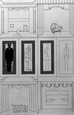 Matt Mullican (American, born 1951). <em>Art & Projected Anatomy</em>, 1988. Etching with 16 gauge copper plates, sheet: 22 x 15 1/8 in. (55.9 x 38.4 cm). Brooklyn Museum, Frank L. Babbott Fund, 1990.125.5. © artist or artist's estate (Photo: Brooklyn Museum, 1990.125.5_bw.jpg)