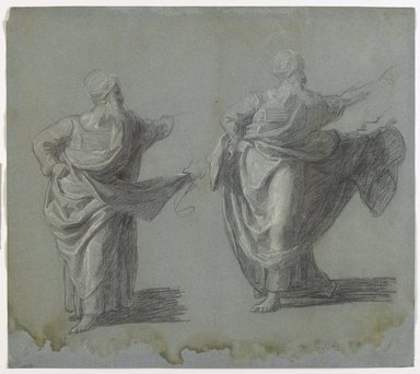 "John Singleton Copley (American, 1738-1815). <em>Studies for ""Saul Reproved by Samuel for Not Obeying the Commandments of the Lord,""</em> 1797-1798. Black crayon and white chalk on blue, medium-weight, slightly textured laid paper, sheet (sight): 12 1/4 x 14 1/4 in. (31.1 x 36.2 cm). Brooklyn Museum, Purchased with funds given by Mr. and Mrs. Leonard L. Milberg, 1990.126.1a-b (Photo: Brooklyn Museum, 1990.126.1a-b_recto_PS6.jpg)"