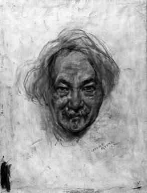 Jerome Myers (American, 1867-1940). <em>Self-Portrait</em>, ca. 1935. Sepia crayon on paper, 16 x 12 1/4in. (40.6 x 31.1cm). Brooklyn Museum, Emily Winthrop Miles Fund and A. Augustus Healy Fund, 1990.126.2. © artist or artist's estate (Photo: Brooklyn Museum, 1990.126.2_bw.jpg)