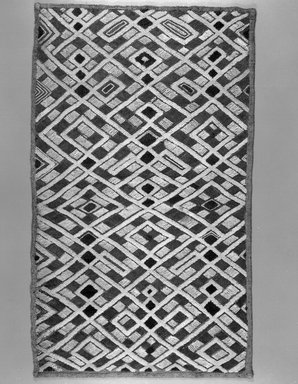 Kuba (Shoowa subgroup). <em>Raffia Cloth</em>, 20th century. Raffia, 25 1/4 x 15in. (64.1 x 38.1cm). Brooklyn Museum, Purchased with funds given by Frieda and Milton F. Rosenthal, 1990.130.1. Creative Commons-BY (Photo: Brooklyn Museum, 1990.130.1_bw.jpg)