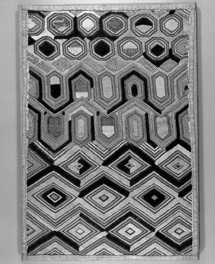 Kuba (Shoowa subgroup). <em>Raffia Cloth</em>, 20th century. Raffia, 23 x 15 in. (58.5 x 38.0 cm). Brooklyn Museum, Purchased with funds given by Frieda and Milton F. Rosenthal, 1990.131.1. Creative Commons-BY (Photo: Brooklyn Museum, 1990.131.1_bw.jpg)