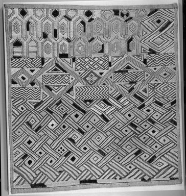 Kuba (Shoowa subgroup). <em>Raffia Cloth</em>, 20th century. Raffia, 21 x 23 1/2 in. (53.3 x 59.5 cm). Brooklyn Museum, Purchased with funds given by Frieda and Milton F. Rosenthal, 1990.131.2. Creative Commons-BY (Photo: Brooklyn Museum, 1990.131.2_bw.jpg)
