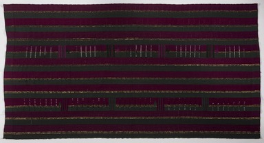 Yorùbá. <em>Woman's wrapper (aṣọ-òkè)</em>, 20th century. Cotton, rayon, dye, 41 1/2 x 73 1/2 in. Brooklyn Museum, Purchased with funds given by Frieda and Milton F. Rosenthal, 1990.132.2. Creative Commons-BY (Photo: , 1990.132.2_PS9.jpg)