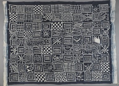 Igbo. <em>Cloth (Ukara)</em>, 20th century. Cotton, indigo, 60 × 79 × 1/16 in. (152.4 × 200.7 × 0.2 cm). Brooklyn Museum, Purchased with funds given by Frieda and Milton F. Rosenthal, 1990.132.6. Creative Commons-BY (Photo: , 1990.132.6_overall_PS4.jpg)
