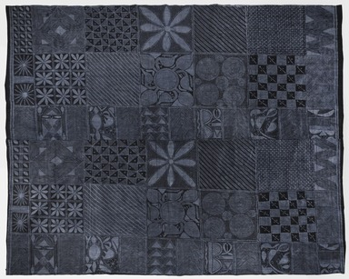 Yorùbá , unknown maker's mark. <em>Woman's wrapper (àdìrẹ ẹlé̩kọ)</em>, 20th century. Commercial cotton cloth, synthetic indigo dye, 68 5/8 × 78 × 1/16 in. (174.3 × 198.1 × 0.1 cm). Brooklyn Museum, Purchased with funds given by Frieda and Milton F. Rosenthal, 1990.132.8 (Photo: , 1990.132.8_PS11.jpg)