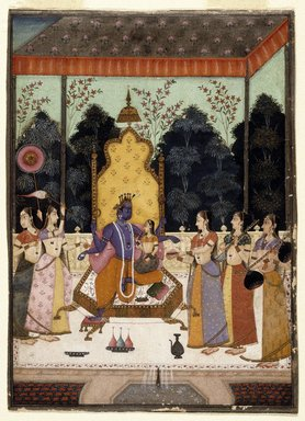 Attributed to Murad and Lupha (active late 17th-early 18th century). <em>A Vision of Vishnu (Vaikuntha Darshana)</em>, c 1710-15. Opaque watercolor, gold, and silver on paper, sheet: 7 11/16 x 5 3/8 in.  (19.5 x 13.7 cm). Brooklyn Museum, Designated Purchase Fund, 1990.134 (Photo: Brooklyn Museum, 1990.134_IMLS_SL2.jpg)