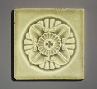 John Gardiner Low (American, 1835-1907). <em>Tile</em>, ca. 1881. Glazed earthenware, 4 5/16 x 4 5/16 x 3/8 in.  (11 x 11 x 1 cm). Brooklyn Museum, Gift of Joseph V. Garry, 1990.143.1 (Photo: Brooklyn Museum, 1990.143.1_transp5204.jpg)