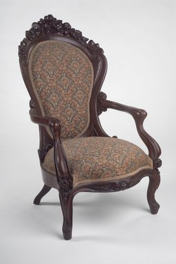 Attributed to John Henry Belter (American, born Germany, 1804-1863). <em>Armchair, Rosalie Pattern</em>, ca. 1860. Wood, upholstery, 42 7/8 x 24 7/8 x 31 in. Brooklyn Museum, Bequest of DeLancey Thorn Grant in memory of her mother, Louise Floyd-Jones Thorn, 1990.145.9. Creative Commons-BY (Photo: Brooklyn Museum, 1990.145.9.jpg)
