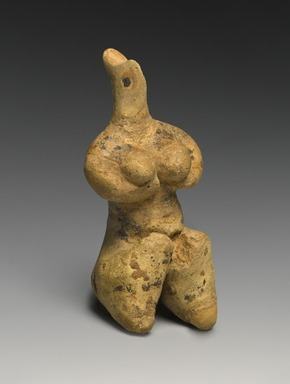 Ancient Near Eastern. <em>Female Figurine</em>, late 5th millennium B.C.E. Clay, pigment, 4 1/8 x 1 7/8 x 1 5/8 in. (10.4 x 4.7 x 4.2 cm). Brooklyn Museum, Hagop Kevorkian Fund and Designated Purchase Fund, 1990.14. Creative Commons-BY (Photo: Brooklyn Museum, 1990.14_threequarter_right_PS2.jpg)