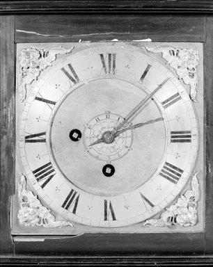 Thomas Tompion. <em>Bracket Shelf Clock</em>, ca. 1700. Wood, brass, glass, 13 3/4 x 12 1/2 x 6 3/4 in. Brooklyn Museum, Gift of Henry P. Sailer, 1990.151.8. Creative Commons-BY (Photo: Brooklyn Museum, 1990.151.8_detail.jpg)