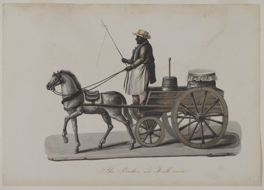 Nicolino V. Calyo (1799-1884). <em>The Butter and Milk Man</em>, 1840s. Watercolor over graphite on off-white, moderately thick, smooth textured wove paper, 10 1/2 x 14 3/4 in. (26.7 x 37.5 cm). Brooklyn Museum, Purchased with funds given by Mr. and Mrs. Leonard L. Milberg, 1990.16 (Photo: Brooklyn Museum, 1990.16_PS9.jpg)