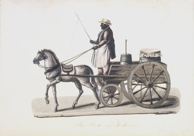 Nicolino V. Calyo (1799-1884). <em>The Butter and Milk Man</em>, 1840s. Watercolor over graphite on off-white, moderately thick, smooth textured wove paper, 10 1/2 x 14 3/4 in. (26.7 x 37.5 cm). Brooklyn Museum, Purchased with funds given by Mr. and Mrs. Leonard L. Milberg, 1990.16 (Photo: Brooklyn Museum, 1990.16_transp327.jpg)
