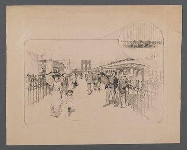 Isaac Walton Taber (American, 1857-1933). <em>Opening of the Brooklyn Bridge</em>, n.d. Pen and ink on heavy paper, Sheet: 10 9/16 x 13 1/16 in. (26.8 x 33.2 cm). Brooklyn Museum, Gift of Mr. and Mrs. Robert Bahssin, 1990.171 (Photo: Brooklyn Museum, 1990.171_PS2.jpg)