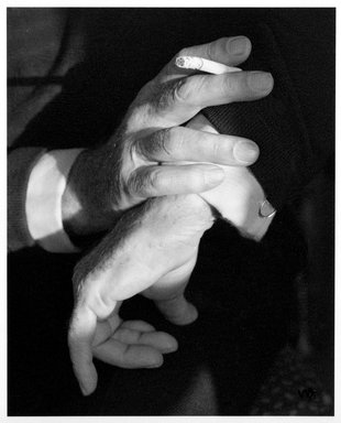 William Abranowicz (American, born 1956). <em>Horst's Hands, NYC 1989</em>, 1989. Gelatin silver photograph, image: 5 x 4 in. (12.7 x 10.2 cm). Brooklyn Museum, Gift of Ruth and Leonard Benowich, 1990.173. © artist or artist's estate (Photo: Brooklyn Museum, 1990.173_bw.jpg)