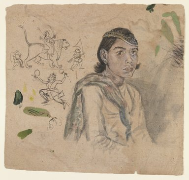 Indian. <em>Study of a Youth</em>, ca. 1800. Ink & light color on paper, sheet: 5 7/8 x 6 1/4 in.  (14.9 x 15.9 cm). Brooklyn Museum, Anonymous gift, 1990.185.4 (Photo: Brooklyn Museum, 1990.185.4_IMLS_PS3.jpg)