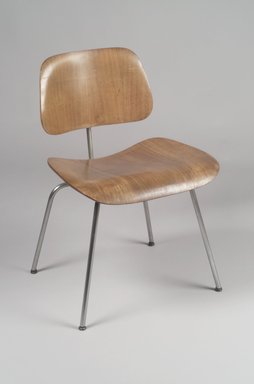 "Charles Eames (American, 1907-1978). <em>""DCM"" Side Chair</em>, 1946-1949. Plywood, metal, rubber, 29 5/8 x 19 3/8 x 20 3/4 in. (75.2 x 49.2 x 52.7 cm). Brooklyn Museum, 