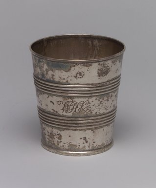 Gerardus Boyce (American, 1795-1880). <em>Beaker</em>, ca. 1820. Silver, 3 1/8 x 2 7/8 x 2 7/8in. (7.9 x 7.3 x 7.3cm). Brooklyn Museum, Gift of Wunsch Foundation, Inc., 1990.196.3. Creative Commons-BY (Photo: Brooklyn Museum, 1990.196.3.jpg)