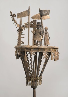 Fon. <em>Altar (asen)</em>, late 19th century. Iron, pigment, and wood, 50 x 12 in. Brooklyn Museum, Frank L. Babbott Fund, 1990.19. Creative Commons-BY (Photo: Brooklyn Museum, 1990.19_PS2.jpg)