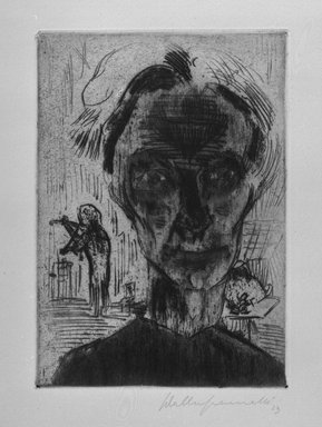 Walter Gramatté (German, 1897-1929). <em>Man in Room: Self Portrait</em>, 1923. Etching, sheet: 21 x 15 in. Brooklyn Museum, Alfred T. White Fund, 1990.214 (Photo: Brooklyn Museum, 1990.214_bw.jpg)