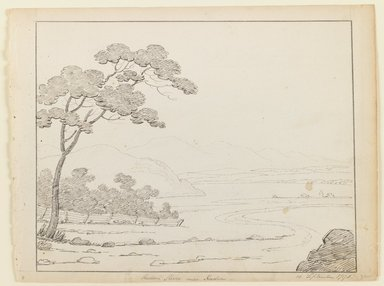 Alexander Robertson (American, born Scotland, 1772-1841). <em>Hudson River Near Hudson</em>, September 15, 1796. Ink on paper, Sheet: 8 3/4 x 11 5/8 in. (22.2 x 29.5 cm). Brooklyn Museum, Purchased with funds given by Mr. and Mrs. Leonard L. Milberg, 1990.216.1 (Photo: Brooklyn Museum, 1990.216.1_IMLS_PS3.jpg)