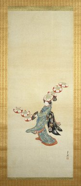 Ogata Gekko (Japanese, 1859-1920). <em>Woman Performing Hat Dance</em>, late 19th century. Hanging scroll, ink, color, silver and gold silk, Image: 48 x 18 7/8 in. (121.9 x 47.9 cm). Brooklyn Museum, Gift of the Asian Art Council and The Roebling Society in memory of Dr. Stanley L. Wallace, 1990.22.1 (Photo: Brooklyn Museum, 1990.22.1_IMLS_SL2.jpg)