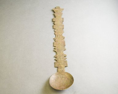 Akan. <em>Spoon</em>, late 19th century. Copper alloy, length: 10 in. (length: 26.5 cm. Brooklyn Museum, Gift of Shirley B. Williams, 1990.221.20. Creative Commons-BY (Photo: Brooklyn Museum, 1990.221.20_front_PS5.jpg)