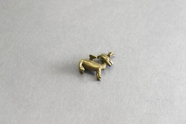 Akan. <em>Gold-weight (abrammuo): antelope</em>, ca. 1700-1900. Copper alloy, length: 3 in. (length: 2.8 cm). Brooklyn Museum, Gift of Shirley B. Williams, 1990.221.26. Creative Commons-BY (Photo: Brooklyn Museum, 1990.221.26_front_PS5.jpg)