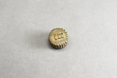 Akan. <em>Gold-weight (abrammuo): geometric</em>, ca. 1500-1720. Copper alloy, diameter: 1 5/8 in. ( height: 1.1 cm. Brooklyn Museum, Gift of Shirley B. Williams, 1990.221.93. Creative Commons-BY (Photo: Brooklyn Museum, 1990.221.93_front_PS5.jpg)