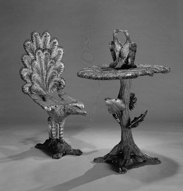 Andre Baccetti. <em>Table</em>, ca. 1890. Wood, silver leaf, polychrome, 45 x 33 1/4 x 24 1/4 in.  (114.3 x 84.5 x 61.6 cm). Brooklyn Museum, Gift of Mr. and Mrs. Bruce M. Newman, 1990.230.9. Creative Commons-BY (Photo: , 1990.230.8_1990.230.9_bw.jpg)