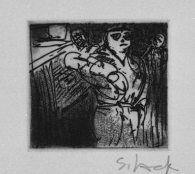 Stephen Lack (Canadian, born 1946). <em>Search and Seizure</em>, 1987. Etching and aquatint, Sheet: 9 x 8 in. (22.9 x 20.3 cm). Brooklyn Museum, Gift of Jonathan Seliger, 1990.237.12. © artist or artist's estate (Photo: Brooklyn Museum, 1990.237.12_bw.jpg)