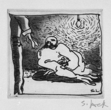 Stephen Lack (Canadian, born 1946). <em>More Questions</em>, 1987. Etching and aquatint, Sheet: 9 x 8 in. (22.9 x 20.3 cm). Brooklyn Museum, Gift of Jonathan Seliger, 1990.237.13. © artist or artist's estate (Photo: Brooklyn Museum, 1990.237.13_bw.jpg)