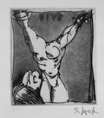 Stephen Lack (Canadian, born 1946). <em>Modern Slave Market</em>, 1987. Etching and aquatint, Sheet: 9 x 8 in. (22.9 x 20.3 cm). Brooklyn Museum, Gift of Jonathan Seliger, 1990.237.15. © artist or artist's estate (Photo: Brooklyn Museum, 1990.237.15_bw.jpg)