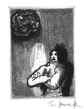 Stephen Lack (Canadian, born 1946). <em>Rose and the Pose</em>, 1987. Etching and aquatint, Sheet: 9 x 8 in. (22.9 x 20.3 cm). Brooklyn Museum, Gift of Jonathan Seliger, 1990.237.17. © artist or artist's estate (Photo: Brooklyn Museum, 1990.237.17_bw.jpg)