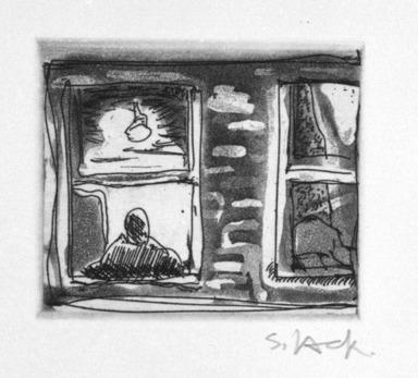 Stephen Lack (Canadian, born 1946). <em>Tired Window</em>, 1987. Etching and aquatint, Sheet: 9 x 8 in. (22.9 x 20.3 cm). Brooklyn Museum, Gift of Jonathan Seliger, 1990.237.3. © artist or artist's estate (Photo: Brooklyn Museum, 1990.237.3_bw.jpg)