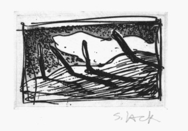 Stephen Lack (Canadian, born 1946). <em>Poles Against the Sky</em>, 1987. Etching and aquatint, Sheet: 9 x 8 in. (22.9 x 20.3 cm). Brooklyn Museum, Gift of Jonathan Seliger, 1990.237.7. © artist or artist's estate (Photo: Brooklyn Museum, 1990.237.7_bw.jpg)