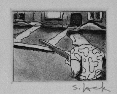 Stephen Lack (Canadian, born 1946). <em>Frank Terpil's Neighbourhood</em>, 1987. Etching and aquatint, Sheet: 9 x 8 in. (22.9 x 20.3 cm). Brooklyn Museum, Gift of Jonathan Seliger, 1990.237.9. © artist or artist's estate (Photo: Brooklyn Museum, 1990.237.9_bw.jpg)